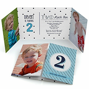 Two Much Fun - Boy - Personalized 2nd Birthday Party Photo Invitations - Set of 12