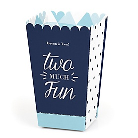 Two Much Fun - Boy - Personalized Birthday Party Popcorn Favor Treat Boxes - Set of 12