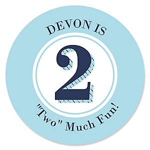 Two Much Fun - Boy - Personalized Birthday Party Sticker Labels - 24 ct