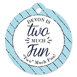 Two Much Fun - Boy - Personalized 2nd Birthday Party Tags - 20 ct