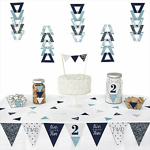 Two Much Fun - Boy -  Triangle Birthday Party Decoration Kit - 72 Piece
