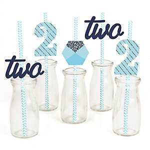 Two Much Fun - Boy - Paper Straw Decor - 2nd Birthday Party Striped Decorative Straws - Set of 24