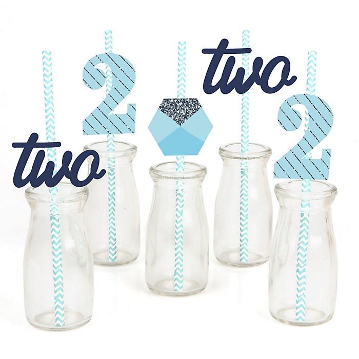 Two Much Fun - Boy - Paper Straw Decor - 2nd Birthday Party Striped Decorative Straws - Set of 24