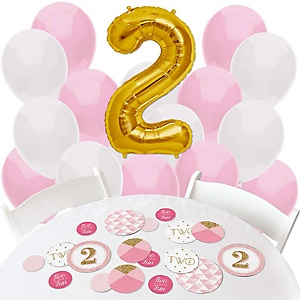 Two Much Fun - Girl - Confetti and Balloon 2nd Birthday Party Decorations - Combo Kit