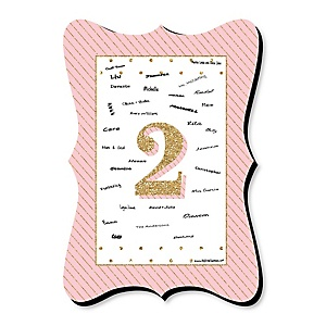 Two Much Fun - Girl - Unique Alternative Guest Book - 2nd Birthday Party Signature Mat