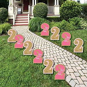 Two Much Fun - 2nd Birthday Girl Lawn Decorations - Outdoor Birthday Party Yard Decorations - 10 Piece