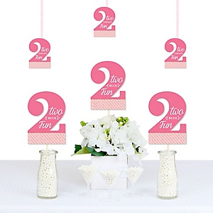 Two Much Fun -Girl - Decorations DIY 2nd Birthday Party Essentials - Set of 20