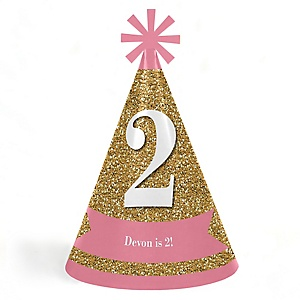 Two Much Fun - 2nd Birthday Girl - Cone Happy Second Birthday Party Hats for Kids and Adults - Set of 8 (Standard Size)