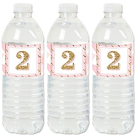 2nd Birthday Girl - Two Much Fun - Second Birthday Party Water Bottle Sticker Labels - Set of 20