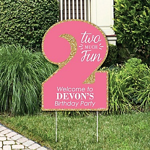 Two Much Fun - 2nd Birthday Girl - Party Decorations - Birthday Party Personalized Welcome Yard Sign