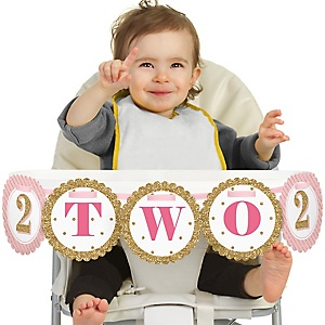 Two Much Fun - Girl - 2nd Birthday - Two - Second Birthday High Chair Banner