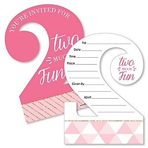 2nd Birthday Girl - Two Much Fun - Shaped Fill-In Invitations - Second Birthday Party Invitation Cards with Envelopes - Set of 12