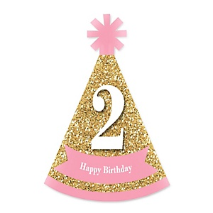 Two Much Fun - 2nd Birthday Girl - Personalized Mini Cone Second Birthday Party Hats - Small Little Party Hats - Set of 10