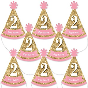 Two Much Fun - 2nd Birthday Girl - Mini Cone Second Birthday Party Hats - Small Little Party Hats - Set of 8