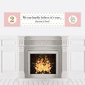 Two Much Fun - Girl - Personalized 2nd Birthday Party Banners