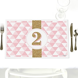 Two Much Fun - Girl - Party Table Decorations - 2nd Birthday Party Placemats - Set of 12