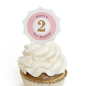Two Much Fun - Girl - Personalized 2nd Birthday Party Cupcake Pick and Sticker Kit - 12 ct