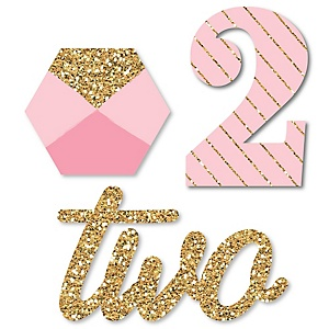 Two Much Fun - Girl - DIY Shaped 2nd Birthday Party Paper Cut-Outs - 24 ct