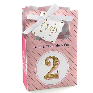 Two Much Fun - Girl - Personalized 2nd Birthday Party Favor Boxes - Set of 12