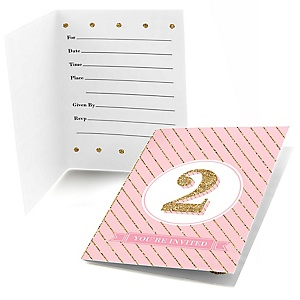 Two Much Fun - Girl - Set of 8 Fill In 2nd Birthday Party Invitations