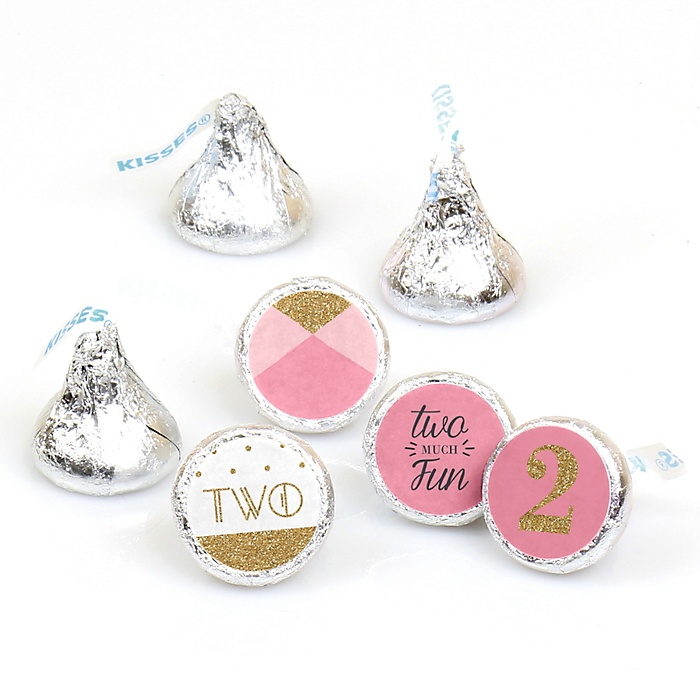 Two Much Fun - Girl - Round Candy Labels 2nd Birthday Party Favors - Fits Hershey's Kisses - 108 ct