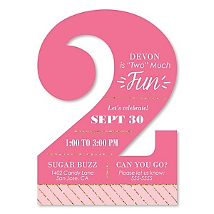 Two Much Fun - Girl - Shaped 2nd Birthday Party Invitations - Set of 12