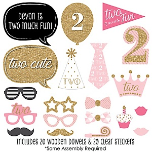 Two Much Fun - Girl - 20 Piece 2nd Birthday Party Photo Booth Props Kit