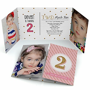 Two Much Fun - Girl - Personalized 2nd Birthday Party Photo Invitations - Set of 12