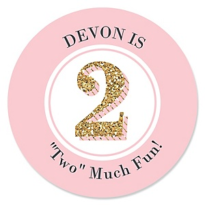 Two Much Fun - Girl - Personalized 2nd Birthday Party Sticker Labels - 24 ct
