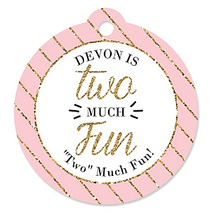 Two Much Fun - Girl - Personalized 2nd Birthday Party Tags - 20 ct