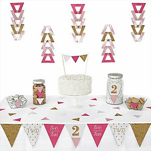 Two Much Fun - Girl -  Triangle 2nd Birthday Party Decoration Kit - 72 Piece