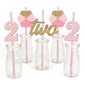Two Much Fun - Girl - Paper Straw Decor - 2nd Birthday Party Striped Decorative Straws - Set of 24