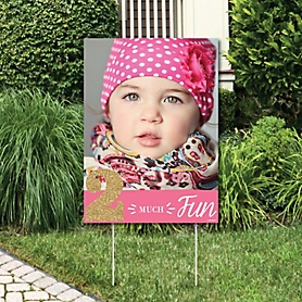 2nd Birthday Girl - Two Much Fun - Photo Yard Sign - Second Birthday Party Decorations