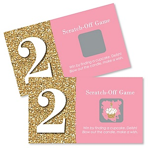 Two Much Fun - Girl - 2nd Birthday Party Game Scratch Off Cards - 22 ct