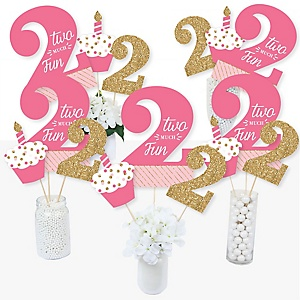 2nd Birthday Girl - Two Much Fun - Second Birthday Party Centerpiece Sticks - Table Toppers - Set of 15
