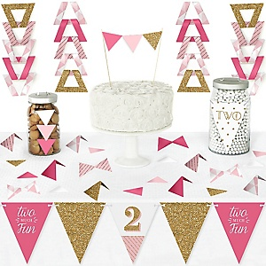 2nd Birthday Girl - Two Much Fun - DIY Pennant Banner Decorations - Second Birthday Party Triangle Kit - 99 Pieces