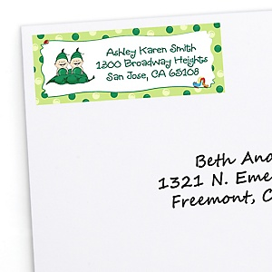 Twins Two Peas in a Pod - Personalized Baby Shower Return Address Labels - 30 ct