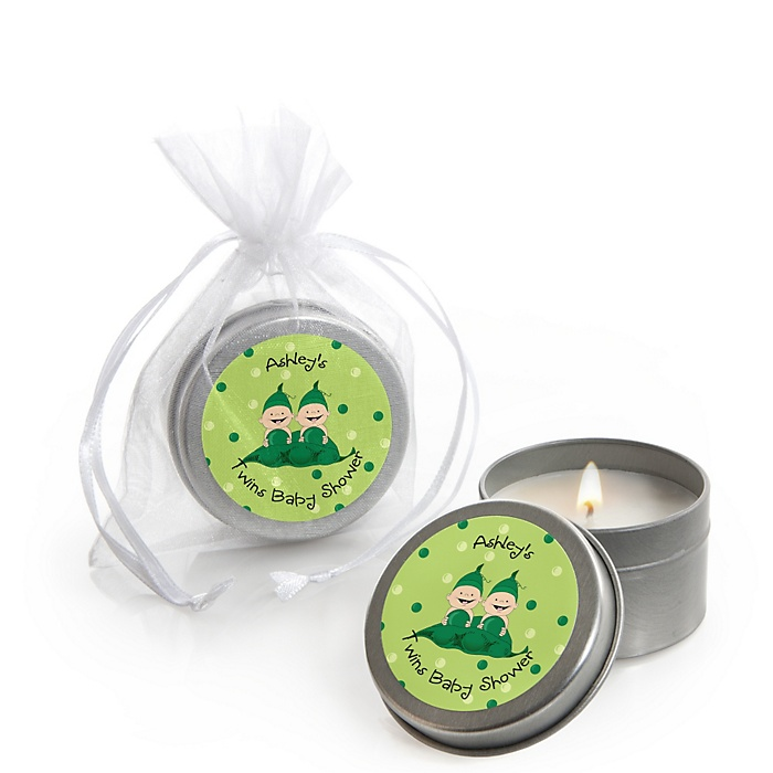 Twins Two Peas in a Pod - Personalized Baby Shower Candle Tin Favors - Set of 12