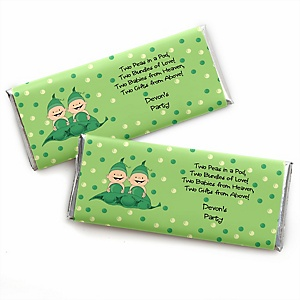 Twins Two Peas in a Pod - Personalized Candy Bar Wrapper Baby Shower or First Birthday Party Favors - Set of 24