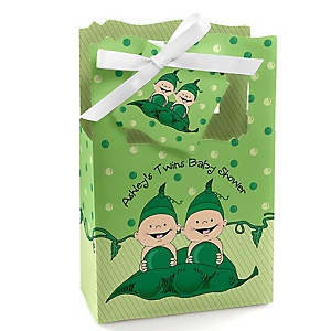 Twins Two Peas in a Pod - Personalized Baby Shower Favor Boxes - Set of 12