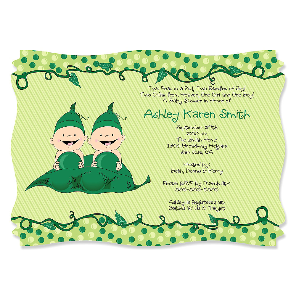 Twins Two Peas in a Pod - Personalized Baby Shower Invitations ...