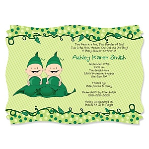 Twins Two Peas in a Pod - Personalized Baby Shower Invitations