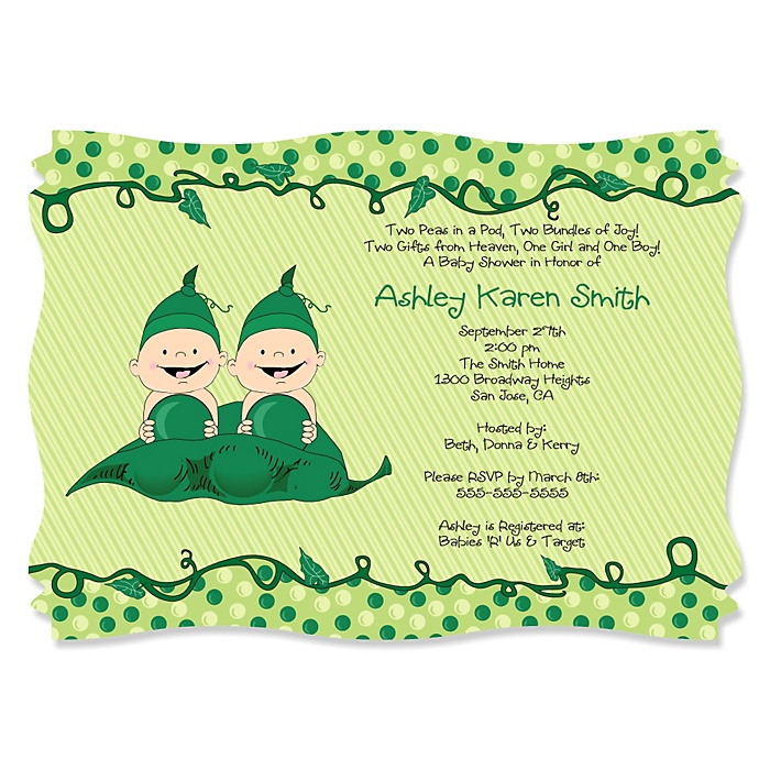 Twins Two Peas in a Pod - Personalized Baby Shower Invitations - Set of 12