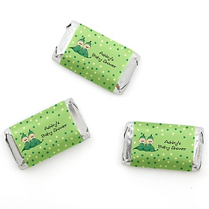 Twins Two Peas in a Pod - Personalized Baby Shower Mini Candy Bar Wrapper Favors - 20 ct