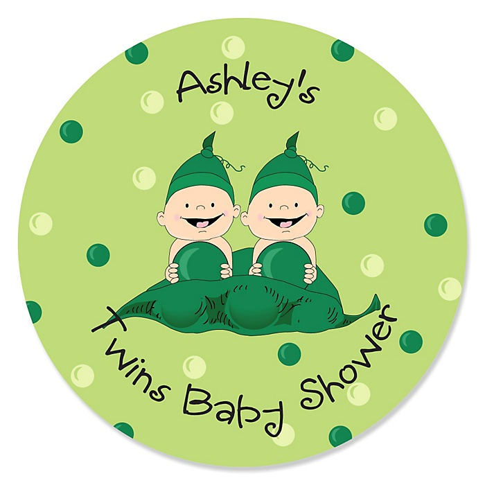 Twins Two Peas in a Pod - Personalized Baby Shower Sticker Labels - 24 ct