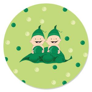 Twins Two Peas In A Pod Caucasian   Baby Shower Theme