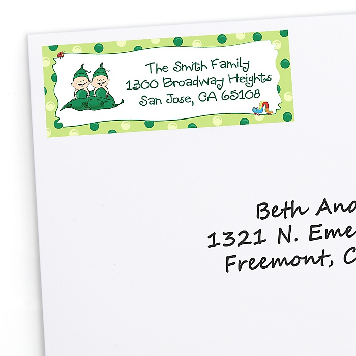 Twins Two Peas in a  Pod - Personalized Birthday Party Return Address Labels - 30 ct