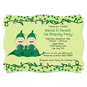 Twins Two Peas in a Pod - Personalized Birthday Party Invitations - Set of 12