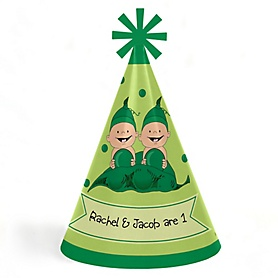 Twins Two Peas in a Pod - Personalized Cone Happy Birthday Party Hats for Kids and Adults - Set of 8 (Standard Size)