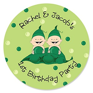 Twins Two Peas in a Pod - Personalized Birthday Party Sticker Labels - 24 ct
